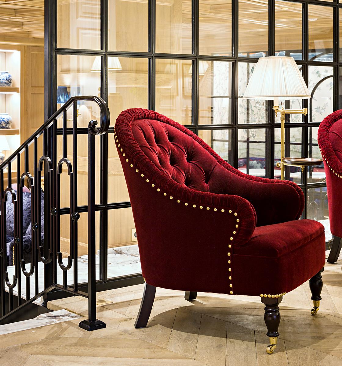 Red Mohair Markham Chair
