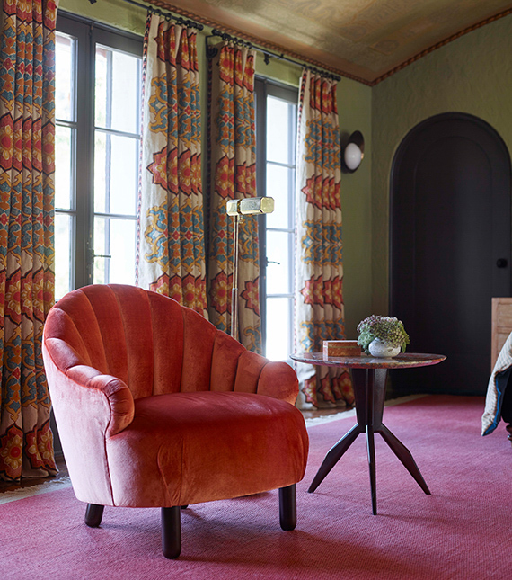Channeled Side Chair in pink velvet on pink carpet with green walls