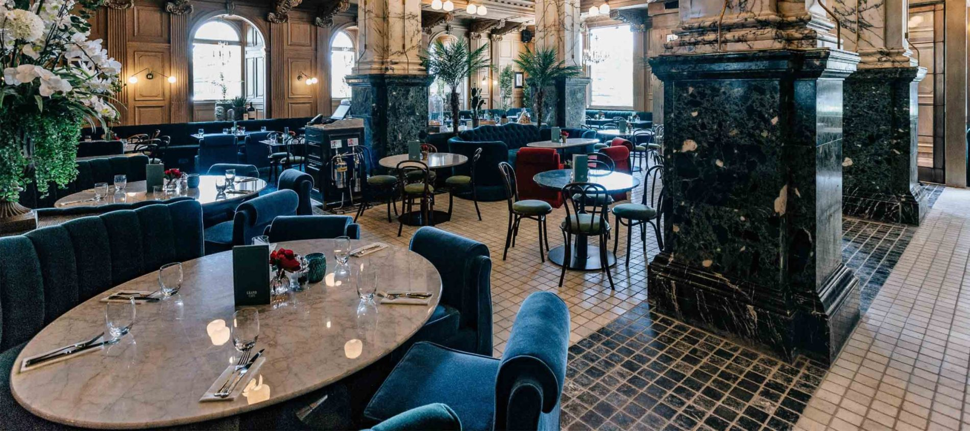 French cafe style tiled floors laid tables
