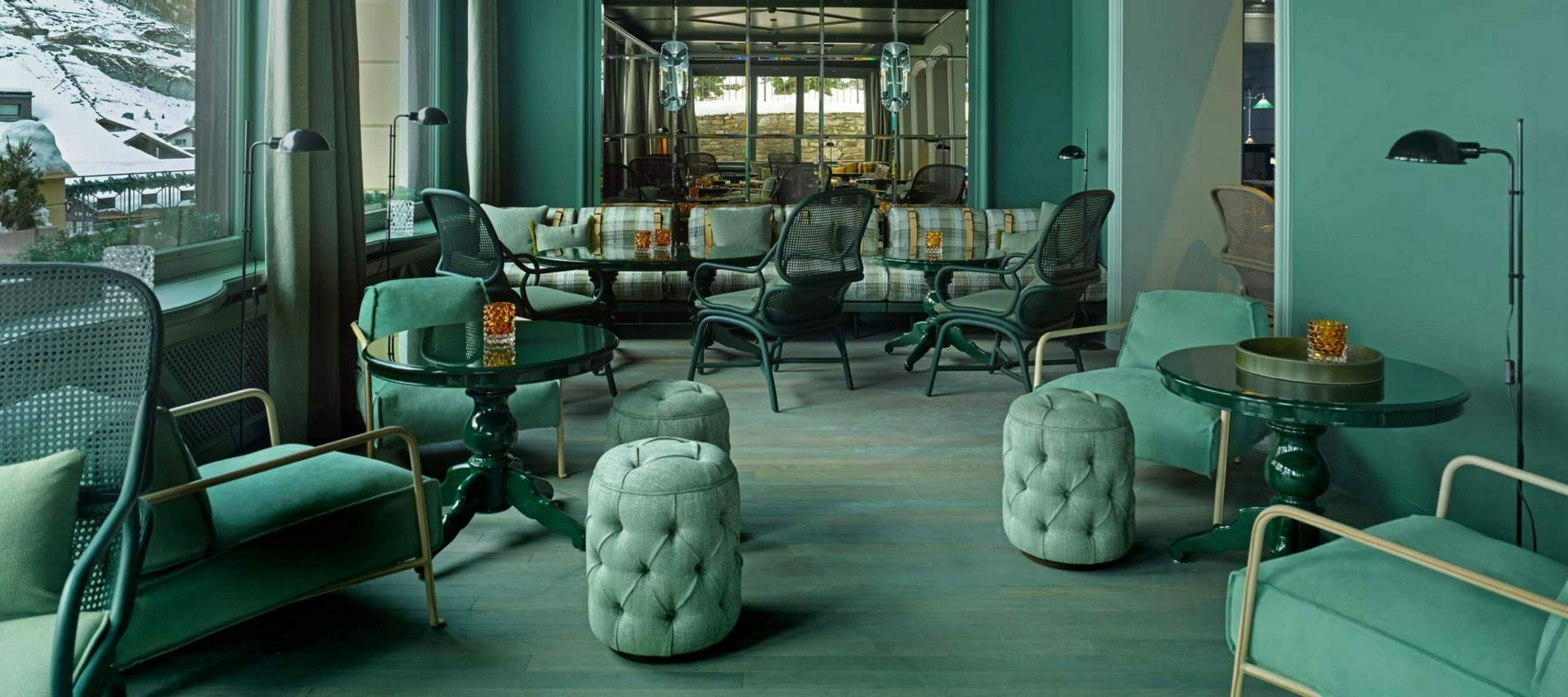 Pale Turquoise room with Baby Buttoned Drums in the mountains