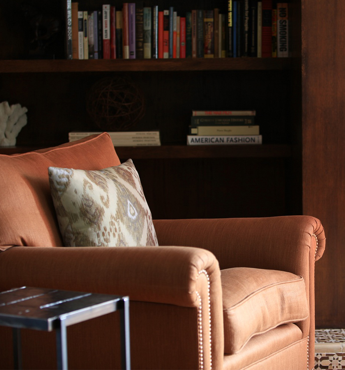 Russet coloured Full Scroll Arm Chair