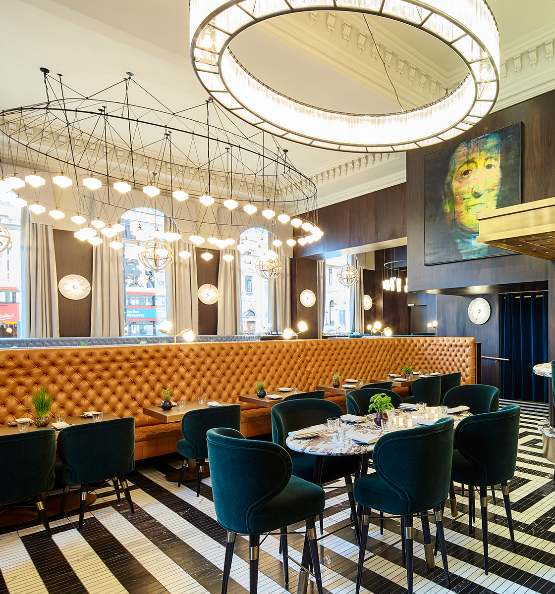 Bespoke toffee banquette in restaurant tall ceilings