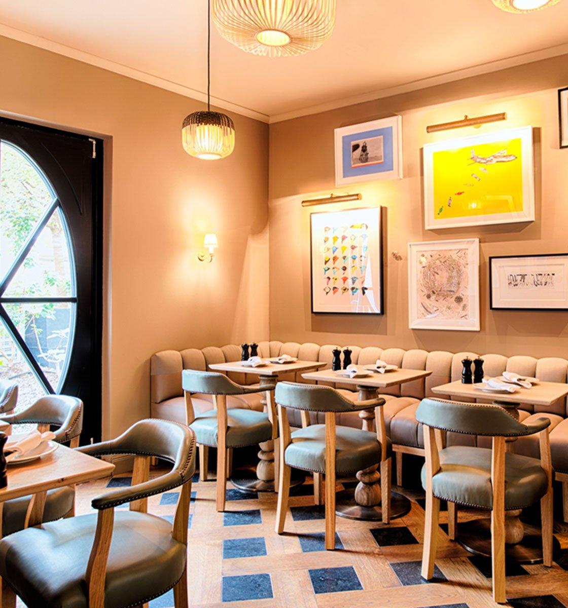 Bespoke Banquette in brightly lit restaurant