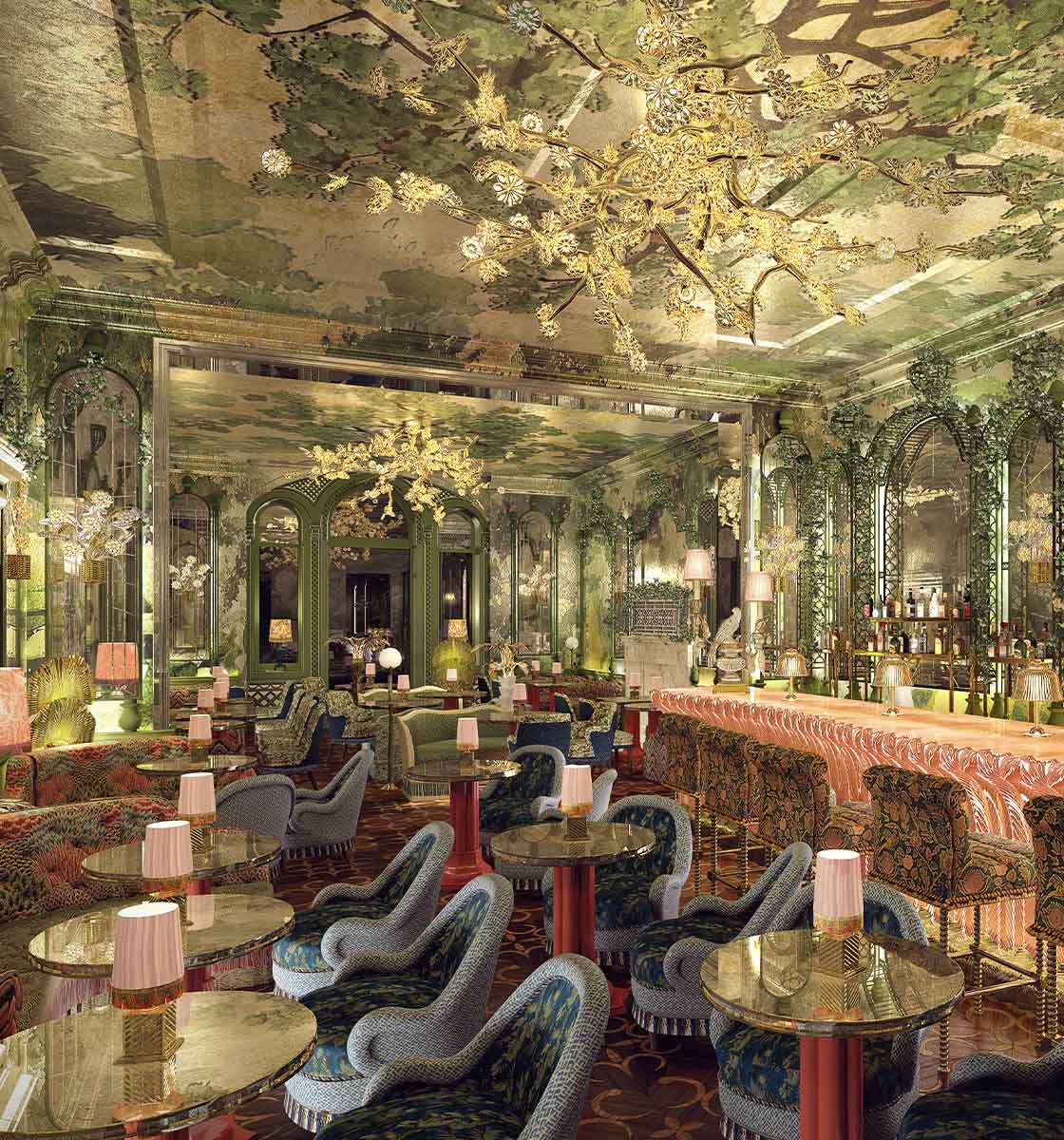 Annabel's restaurant with highly patterned details