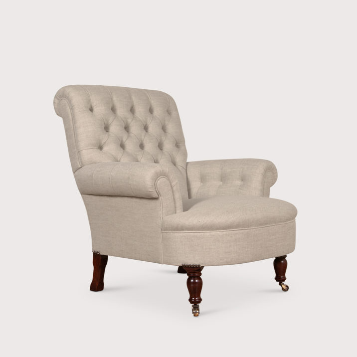 Button Back Scroll Arm Chair