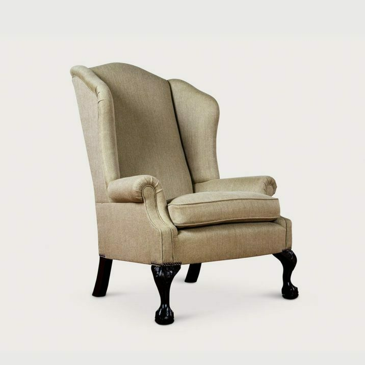 Low Scroll Arm Wing Chair (unbuttoned)