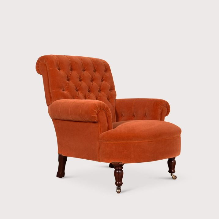 Button Back Scroll Arm Chair