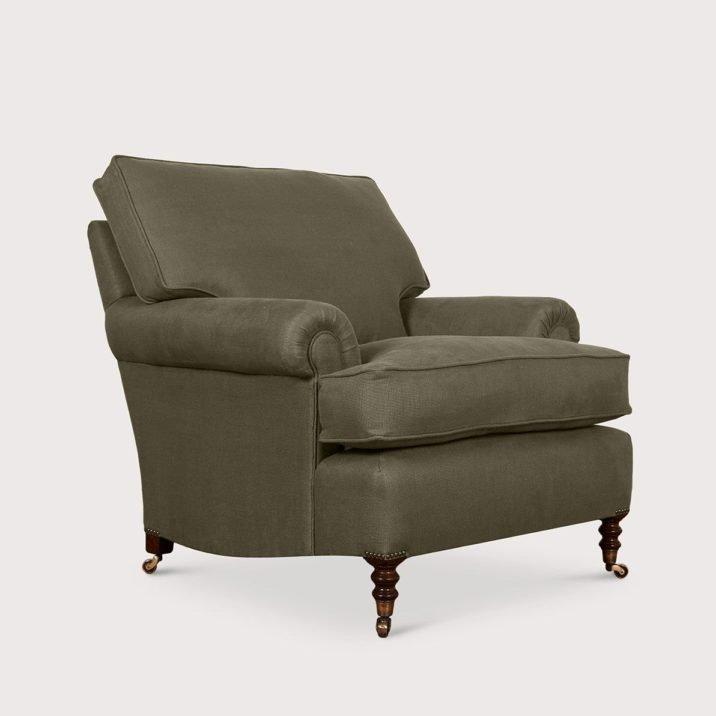 Medium Short Scroll Arm Signature Chair with Cushion Back