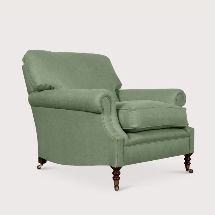 Large Laid Back Scroll Arm Signature Chair with Cushion Back