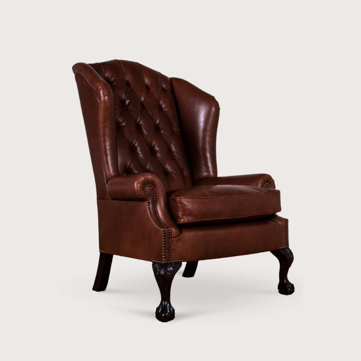 Low Scroll Arm Wing Chair (buttoned)